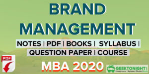 Brand Management Notes PDF | MBA 2020