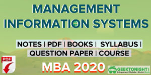 Management Information System Notes PDF | MBA 2020