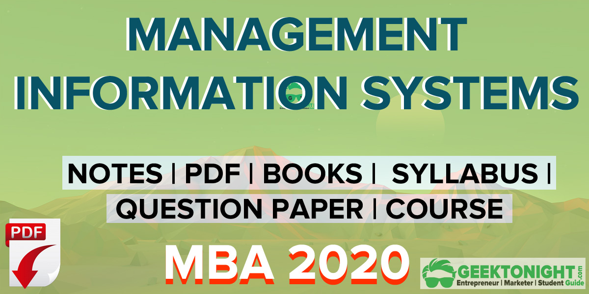 Management Information System Notes PDF | MBA 2021