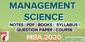 Management Science Notes | PDF, Syllabus, Book | MBA 2021