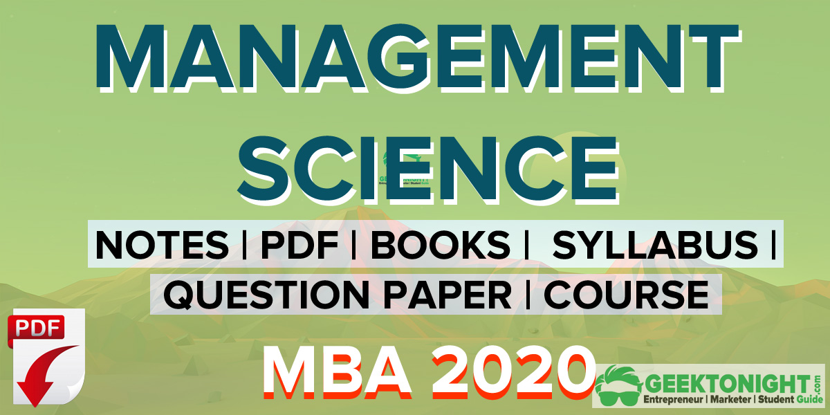 Management Science Notes | PDF, Syllabus, Book | MBA 2020