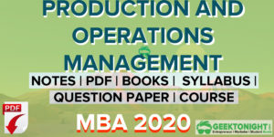 Production and Operations Management Notes PDF MBA 2021
