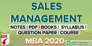 Sales Management Notes | PDF, Book, Syllabus, Paper | MBA 2020