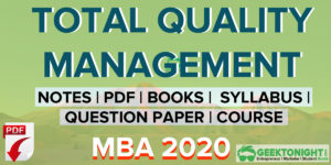 Total Quality Management PDF | Notes, Paper | MBA  2021