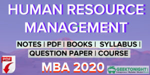 Human Resource Management Notes | HRM PDF | MBA [2021]