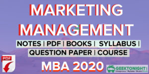 Marketing Management Notes | PDF, Book, Syllabus | MBA [2020]