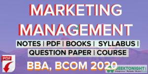 Marketing Management PDF | Notes,  Syllabus | BBA, BCOM [2020]